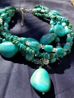 """Multi-Strand Turquoise Howlite Glass Beaded 16""""+ Necklace"""