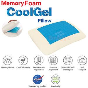 Cooling Orthopedic Memory Foam Contour Cervical Gel Pillow Firm Head Neck Back