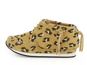 AKID Stone Leopard-Print Suede Moccasin Shoes Brown Size 6,11 NEW.