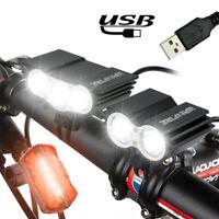 Bright 20000LM X3 X2 USB LED Front Bicycle Light Bike Headlamp MTB Headlight