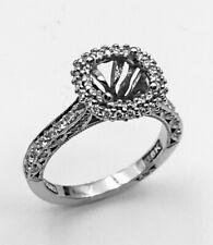 New Tacori Diamond Halo Engagement Ring -18k white gold Size 6.5 Semi Mount