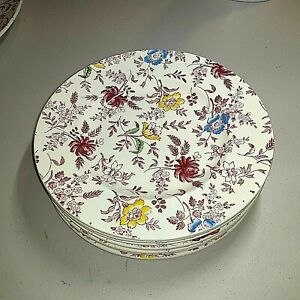 """EMPIRE PORCELAIN(ENGLAND) IN DEMAND """"CHINTZ"""" (8)PINK/MULTI-COLOR LUNCHEON PLATES"""