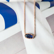 Authentic Kendra Scott Elisa Necklace in Navy Dusted Rose Gold Plated