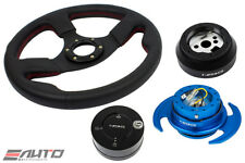 NRG 320 Race Leather Steering Wheel Red St 170H Hub Gen3 Blue Release Lock LB a