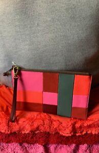 Fossil Wine Multi-Color Patchwork Leather & Suede XL Zip Clutch Wallet Wristlet