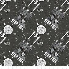 Fat Quarter Star Trek Galaxy Pop Characters Ship Carbon Cotton Quilting Fabric