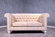 Chesterfield Sofa Empire Barock Couch creme beige Antik Massiv Vintage Stil Art