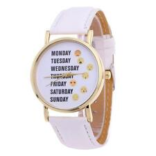 Women Quartz Analog Leather Bracelet Stainless Steel Wristwatch Lady Watch Gift White