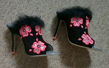 Fab £510 rare Sophia Webster floral pink embroidery furry mules 38.5 UK 5.5 new