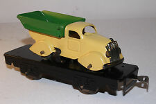 1930's Marx O Gauge Flat Car with Streamline Dump Truck, Yellow & Green Restored