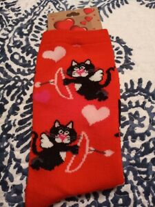 Valentine Red Colored Cat Cupid Socks, Womens,  New