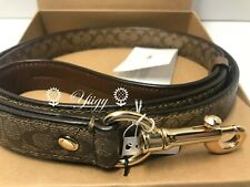 🌻 Coach 26906 Large Pet Dog Leash Signature Khaki Crossgrain Leather NW AUTH🌻