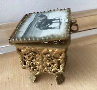Antique Art Nouveau French Glass Lid w/Camel Jewelry Casket Case Box Trinket Jar