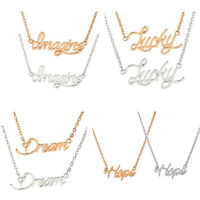 Elegant Letter Word Pendant Necklace Clavicle Choker Chain Women Fashion Jewelry