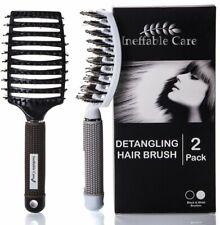 Ineffable Care Pack de 2 Brosse à Cheveux En Poils De Sanglier Blanc Noir /EBHJ