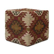 Kilim Wool Jute Holl Way Ottomans Floor Pouf Cover Handwoven Sitting Foot Stool