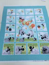 Susybee, Lambs, Panel 89cm x 110cm, 100% Cotton, Nursery, Baby, Balloons