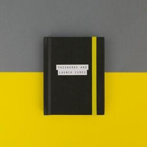 PASSWORDS & LAUNCH CODES BOOK Mini pocket pad Black Small Handbag reminder New