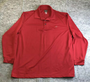 Greg Norman Mens XL Red Golf Shirt Long Sleeve Poly Stretch Activewear