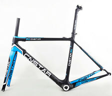 52cm Blue Full Carbon Road Frame Fork Bike Internl Di2 BSA Matt 700C Blue cycle