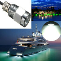 White Boat LED Drain Plug Underwater Light Garboard Brass1/2 NPT Marine