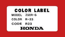 HONDA Z50R 1980 thru 1981  Z50R COLOR CODE DECAL    REPRO