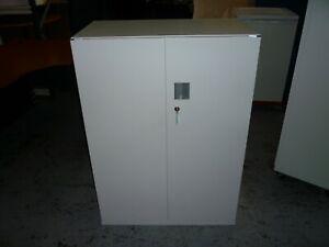OFFICE WHITE STEEL STORAGE CABINET 2 X DOORS (LOCKABLE) BRISBANE