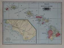 Original 1903 Tunison Map HAWAIIAN ISLANDS Oahu Diamond Head Mauna Loa Lava Flow