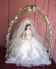 SALE!!! FABULOUS VINTAGE BRIDAL DOLL ON PLATFORM WITH FAUX FLORAL ACCENTED ARCH