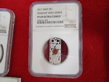 2011 S$1 Niue Magic Stones Pendant With Amber NGC PF69 .999 Silver Coin Bullion