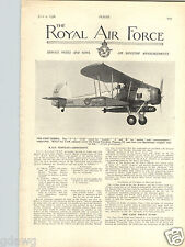 1936 PAPER AD Airplane 2 Sided The Royal Air Frce Article RAF Fairey Swordfish