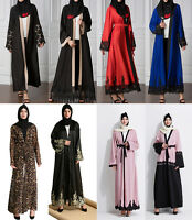 Dubia Style Open Front Abaya Kaftan Muslim Women Lace Dress Robe Arab Maxi Gown