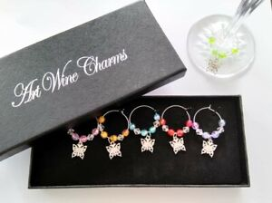 Boxed set of 6 coloured wine glass charms silver plated butterflies ideal gift
