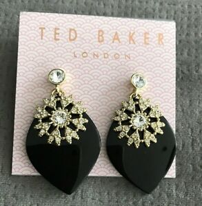 Ted Baker Black and Gold Leaf  Dangle Crystal Earrings Gold Tone