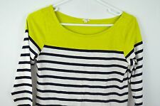 J Crew Shirt XS Womens Top Blouse Striped Cotton 3/4 Sleeve Chartreuse Navy