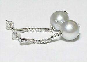 Oval Round 12.9x12.5mm Natural Silver White Indonesian South Sea Pearl Earrings