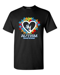 Autism Awareness Heart Hand Puzzle T-Shirt Autism Mom Dad Wear Blue Shirts