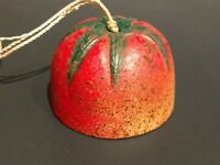 Vintage Painted Small Cast Iron Bell Red Tomato