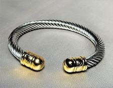 ~Designer Inspired Stainless Steel Twisted Cable Cuff Bracelet Gold Cap Ends ~