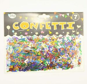 25g of Coloured Foil Number 7 Table Confetti Sprinkles Birthday Decorations