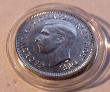AU 1951 AUSTRALIA SIXPENCE SILVER King George VI w/HOLDER, High Grade all around