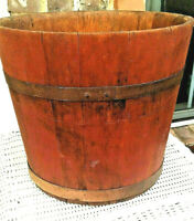 ANTIQUE WOOD STAVE BUCKET WITH METAL STRAPS-ALL ORIGINAL RED PAINT