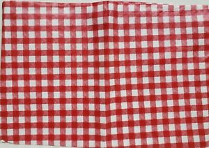 """Thin Flannel Back Vinyl Tablecloth52""""x90""""Oblong,RED & WHITE BUFFALO CHECKERED,BH"""