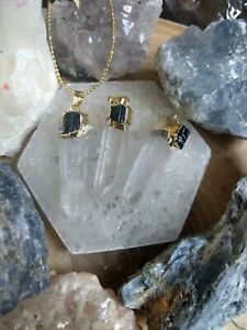 clear Quartz and Black Tourmaline point Necklace crystal healing master healer