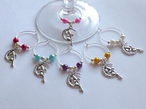 6 X SILVER PLATED TINKERBELL / FAIRY WINE GLASS CHARMS BIRTHDAY GIFT HEN PARTY