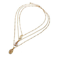 Women Shelll Multi-Layer Choker Collar Pendant Chain Necklace Bohemian Jewelry