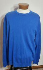 Lands' End Long Sleeve Crewneck Men's Sweater Blue 100% Supima Cotton XL/T 46-48