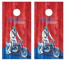 Evel Knievel Barnwood Cornhole Board Wraps #2656