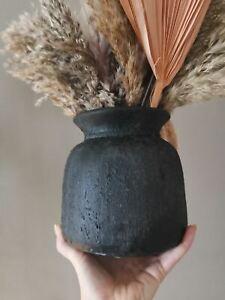 Stone Bali vase darkest grey