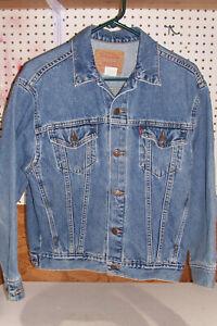 Men's Size Large Levis Blue Cotton Denim Jacket Coat Levi Strauss Cowboy Western